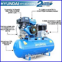 200L Ltr Litre Air Compressor 14hp 29CFM 10BAR Petrol Belt Drive Twin Cylinder