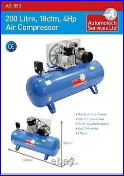 AIR COMPRESSOR 200L 4Hp 18cfm PISTON COMPRESSOR 200 LITRE 415v THREE PHASE