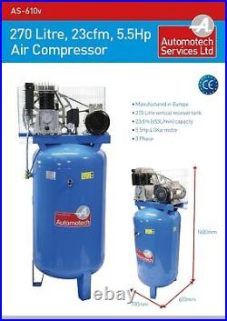 AIR COMPRESSOR 270L 5.5Hp 23cfm PISTON COMPRESSOR 200 LITRE 415v THREE PHASE