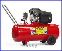 BURISCH Air Compressor 3HP 100 Litre + DA Sander + 10m Air Hose Kit 100 ltr
