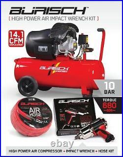BURISCH Air Compressor 3HP 50 50L Litre ltr + Impact Wrench + 10m Air Hose Kit