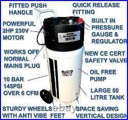 COLLECTION ONLY 50 Litre Air Compressor Vertical Tank 2HP 10 BAR CFM 50L 240v