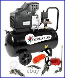 Dealourus Portable 50L Litre Air Compressor 9.6CFM 2.5HP & 5 Piece Tool Kit