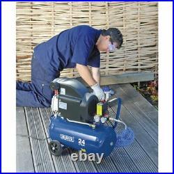 Draper 24 Litre Portable 2HP Garage Workshop Home 116psi Air Compressor, 24980