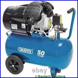 Draper 29355 50 Litre 50L V Twin Workshop Portable Air Compressor 230V 3HP
