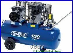 Draper Tools 31254 100 Litre 100L Belt Drive Workshop Garage Air Compressor 3HP