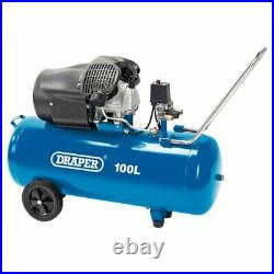 Draper Tools 65396 100 Litre 100l 3hp Direct Drive Air Compressor V Twin 230v