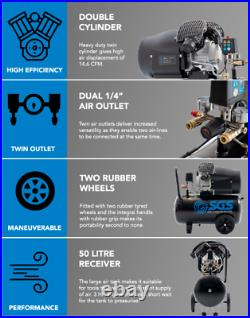 SGS 50 Litre Direct Drive V-Twin High Power Air Compressor with Tool Kit 14.6C