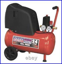 Sealey 24L Litre 1.5hp Motor, Oil Free, Belt Drive Air Floor Compressor, SAC02415