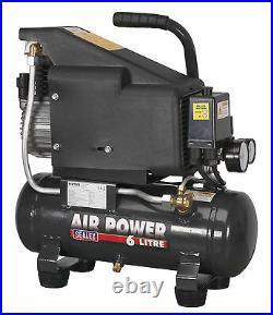 Sealey 6L Compact Small Portable Air Compressor Tank Direct Drive 1 HP SAC0610E
