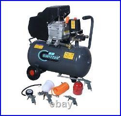 SwitZer Air Compressor 24L Litre 2HP 8 BAR 230V With Wheel 5PCS Kits AC009 Grey