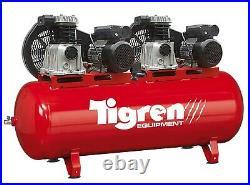 Tigren 04386 270 Litre Tandem Air Compressor Twin 3HP = 6HP Motor 230v 32amp