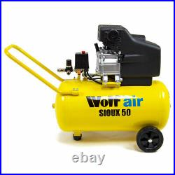 Wolf Air Compressor 50 Litre 2.5hp 8bar 116psi 9.6cfm 230v 50L Ltr with Wheels