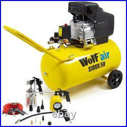 Wolf Air Compressor 50 Litre 2.5hp 8bar 116psi 9.6cfm 50L Ltr 13pc Air Tool Kit