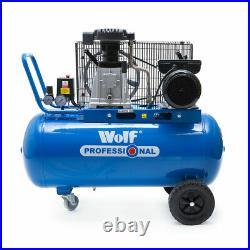 Wolf Pro Air Compressor 90 Litre Belt Drive 3hp 10bar 150psi 14cfm 2-Cylin 90L