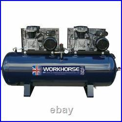 Workhorse Tandem Air Compressor 2 x 4HP 230V 250 Litre 36.4CFM